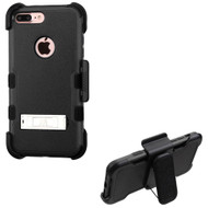 Military Grade Certified TUFF Hybrid Armor Kickstand Case with Holster for iPhone 8 Plus / 7 Plus - Black