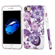 Premium Graphic Rubberized Protective Gel Case for iPhone 8 / 7 - Purple Hibiscus Flower Romance