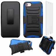 Advanced Armor Hybrid Kickstand Case with Holster and Tempered Glass Screen Protector for iPhone 8 / 7 - Black Blue