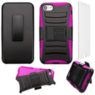 *SALE* Advanced Armor Hybrid Kickstand Case with Holster and Tempered Glass Screen Protector for iPhone 8 / 7 - Hot Pink
