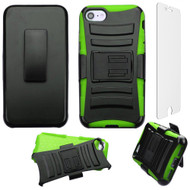 Advanced Armor Hybrid Kickstand Case with Holster and Tempered Glass Screen Protector for iPhone 8 / 7 - Black Green