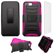 Advanced Armor Hybrid Kickstand Case with Holster and Tempered Glass Screen Protector for iPhone 8 Plus / 7 Plus - Pink