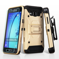 3-IN-1 Kinetic Hybrid Armor Case with Holster and Tempered Glass Screen Protector for Samsung Galaxy On5 - Gold