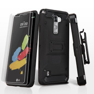 3-IN-1 Kinetic Hybrid Armor Case with Holster and Screen Protector for LG G Stylo 2 / Stylus 2 - Black