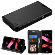Book-Style Leather Folio Case for LG Tribute HD / X Style - Black