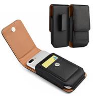 Premium Vertical Leather Pouch Case - Black 24474