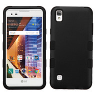 Military Grade Certified TUFF Hybrid Armor Case for LG Tribute HD / X Style - Black