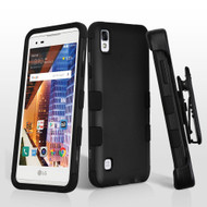 Military Grade TUFF Hybrid Armor Case with Holster for LG Tribute HD / X Style - Black