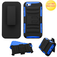 *SALE* Advanced Armor Hybrid Kickstand Case with Holster and Screen Protector for iPhone SE / 5S / 5 - Black Blue