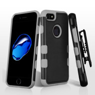 Military Grade TUFF Merge Hybrid Armor Case with Holster for iPhone 8 / 7 - Black Grey