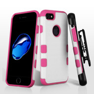 Military Grade TUFF Merge Hybrid Armor Case with Holster for iPhone 8 / 7 - White Hot Pink