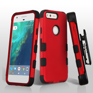 Military Grade TUFF Hybrid Armor Case with Holster for Google Pixel - Red