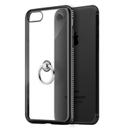 Diamond Stud Electroplating Clear TPU Case Ring Holder for iPhone 7 - Black
