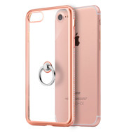 Diamond Stud Electroplating Clear TPU Case Ring Holder for iPhone 8 / 7 - Rose Gold