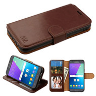 Book-Style Leather Folio Case for Samsung Galaxy J3 (2017) / J3 Emerge / J3 Prime / Amp Prime 2 / Sol 2 - Brown