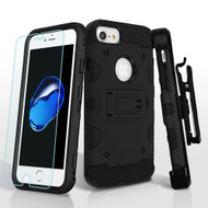 Military Grade Storm Tank Hybrid Case with Holster and Tempered Glass Screen Protector for iPhone 8 / 7 / 6S / 6 - Black
