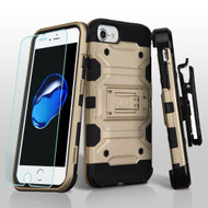 Military Grade Storm Tank Hybrid Case with Holster and Tempered Glass Screen Protector for iPhone 8 / 7 / 6S / 6 - Gold