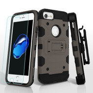 Military Grade Storm Tank Hybrid Case with Holster and Tempered Glass Screen Protector for iPhone 8 / 7 / 6S / 6 - Grey