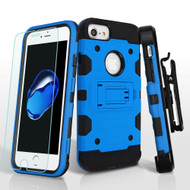 *SALE* Military Grade Certified Storm Tank Hybrid Case + Holster + Tempered Glass for iPhone 8 / 7 / 6S / 6 - Blue