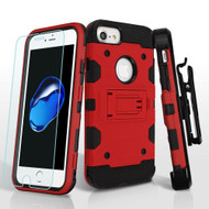 *SALE* Military Grade Storm Tank Case with Holster and Tempered Glass Screen Protector for iPhone 8 / 7 / 6S / 6 - Red