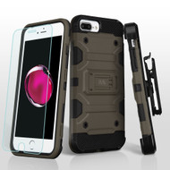 *SALE* Military Grade Storm Tank Case + Holster + Tempered Glass for iPhone iPhone 8 Plus / 7 Plus / 6S Plus - Grey