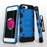 Military Grade Storm Tank Case + Holster + Tempered Glass for iPhone 8 Plus / 7 Plus / 6S Plus / 6 Plus - Blue