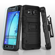 Military Grade Storm Tank Hybrid Case + Holster + Tempered Glass Screen Protector for Samsung Galaxy On5 - Black