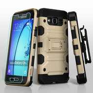 Military Grade Storm Tank Hybrid Case with Holster and Tempered Glass Screen Protector for Samsung Galaxy On5 - Gold