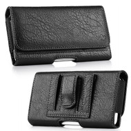 Premium Leather Folio Hip Case with Card Slot - Black