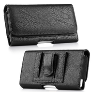 Premium Leather Folio Hip Case with Card Slot - Black 29158