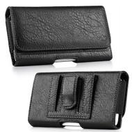 Premium Leather Folio Hip Case with Card Slot - Black 29158