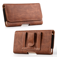 Premium Leather Folio Hip Case with Card Slot - Brown