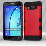 Military Grade Certified TUFF Trooper Dual Layer Hybrid Armor Case for Samsung Galaxy On5 - Brushed Red
