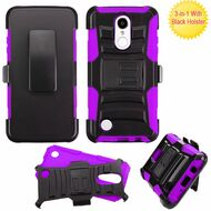 *SALE* Advanced Armor Hybrid Kickstand Case with Holster for LG Aristo / Fortune / K8 2017 / Phoenix 3 - Black Purple