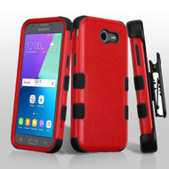 Military Grade TUFF Case + Holster for Samsung Galaxy J3 (2017) / J3 Emerge / J3 Prime / Amp Prime 2 / Sol 2 - Red
