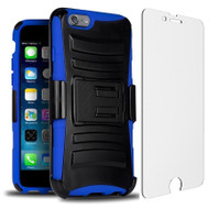 Advanced Armor Hybrid Kickstand Case with Holster and Tempered Glass Screen Protector for iPhone 6 / 6S - Black Blue