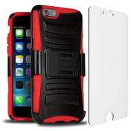 Advanced Armor Hybrid Kickstand Case with Holster and Tempered Glass Screen Protector for iPhone 6 / 6S - Black Red