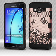 Military Grade TUFF Trooper Dual Layer Hybrid Armor Case for Samsung Galaxy On5 - Lace Flowers Rose Gold