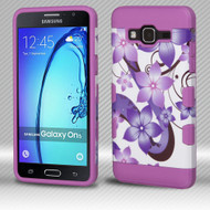 Military Grade TUFF Trooper Dual Layer Hybrid Armor Case for Samsung Galaxy On5 - Purple Hibiscus Flower Romance