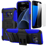 Advanced Armor Hybrid Kickstand Case with Holster and Tempered Glass Screen Protector for Samsung Galaxy S7 - Black Blue