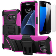 Advanced Armor Hybrid Kickstand Case with Holster and Tempered Glass Screen Protector for Samsung Galaxy S7 - Hot Pink