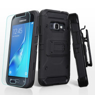 Kinetic Hybrid Holster Case and Tempered Glass for Samsung Galaxy Amp 2 / Express 3 / J1 (2016) - Black