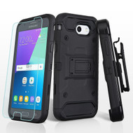 Kinetic Holster Case + Tempered Glass for Samsung Galaxy J3 (2017) / J3 Emerge / J3 Prime / Amp Prime 2 / Sol 2 - Black