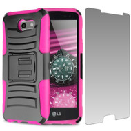 Advanced Holster Case + Tempered Glass for Samsung Galaxy J3 (2017) / J3 Emerge / J3 Prime / Amp Prime 2 / Sol 2 - Pink