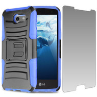 Advanced Holster Case + Tempered Glass for Samsung Galaxy J3 (2017) / J3 Emerge / J3 Prime / Amp Prime 2 / Sol 2 - Blue