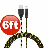 6 ft. Eco-Friendly Braided Nylon Fiber Lightning Connector to USB Charge and Sync Cable - Black