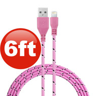 6 ft. Eco-Friendly Braided Nylon Fiber Lightning Connector to USB Charge and Sync Cable - Pink