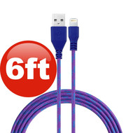 6 ft. Eco-Friendly Braided Nylon Fiber Lightning Connector to USB Charge and Sync Cable - Purple