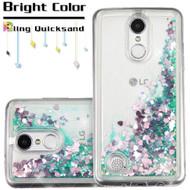 Quicksand Glitter Transparent Case for LG Aristo / Fortune / K8 2017 / Phoenix 3 - Green