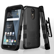 Military Grade Certified TUFF Hybrid Armor Case with Holster for LG Stylo 3 / Stylo 3 Plus - Black
